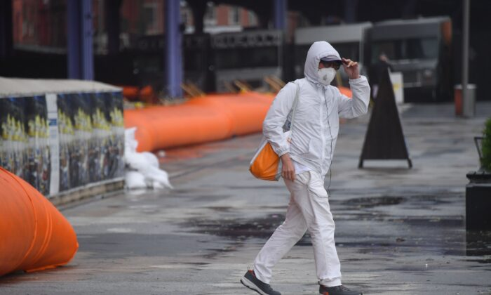 A person walks in New York City on Aug. 4, 2020. (Angela Weiss/AFP via Getty Images)