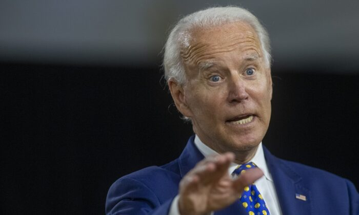 Democratic presidential nominee former Vice President Joe Biden delivers a speech in Wilmington, Del., on July 28, 2020. (Mark Makela/Getty Images)