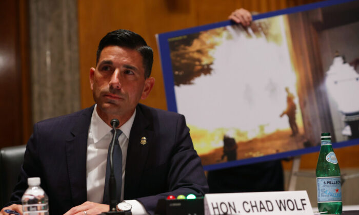 Department of Homeland Security Acting Secretary, Chad Wolf, testifies before the Senate Homeland Security and Governmental Affairs Committee on Aug. 6, 2020. (Alex Wong/POOL/AFP via Getty Images)