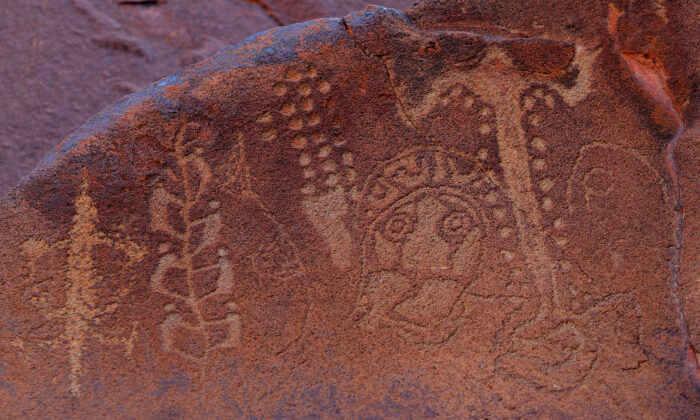 Ancient Aboriginal rock carvings (C) are shown in this photo taken on the Burrup Peninsula in the north of Western Australia on June 17, 2008. (Greg Wood/AFP via Getty Images)