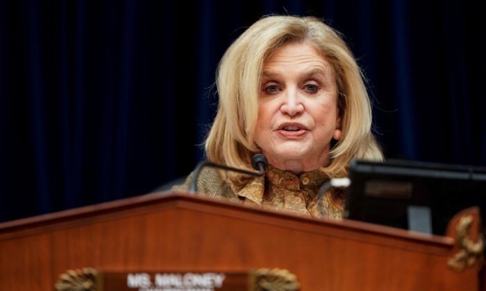 Rep. Carolyn Maloney (D-N.Y.) leads a hearing about CCP virus preparedness and response on Capitol Hill in Washington on March 12, 2020. (Joshua Roberts/Reuters)