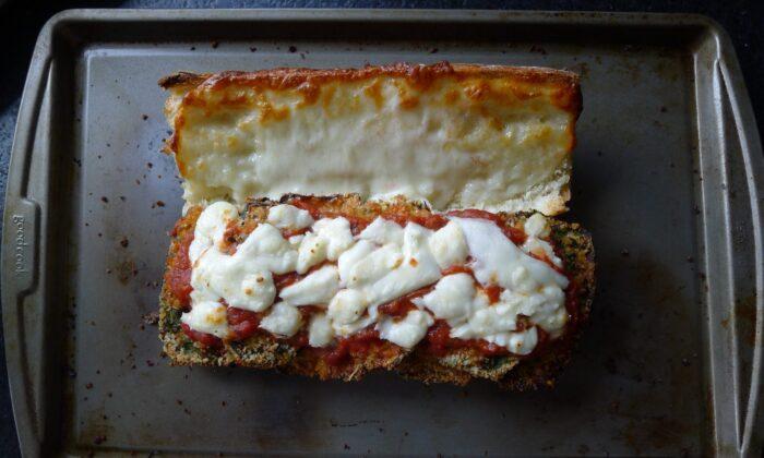eggplant parmesan sub after baking