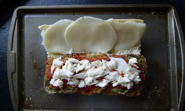 eggplant parmesan sub before baking