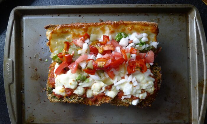 eggplant parmesan sub topped with everything
