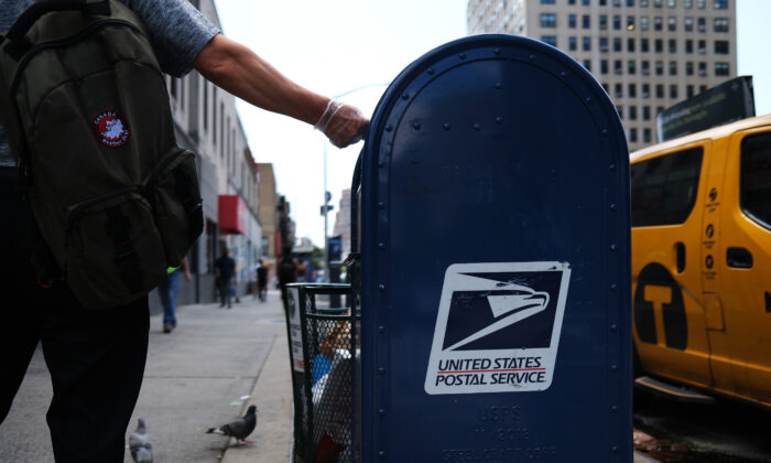 A United States Postal Service (USPS) mailbox stands in the Manhattan, N.Y., on Aug. 5, 2020. (Spencer Platt/Getty Images)