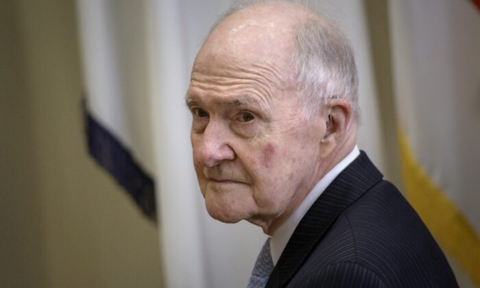 General Brent Scowcroft, former National Security Advisor, waits for US President Barack Obama to announce Ashton Carter as his nominee for Secretary of Defense in the Roosevelt Room of the White House in Washington, on Dec. 5, 2014. (Brendan Smialowski/AFP via Getty Images)