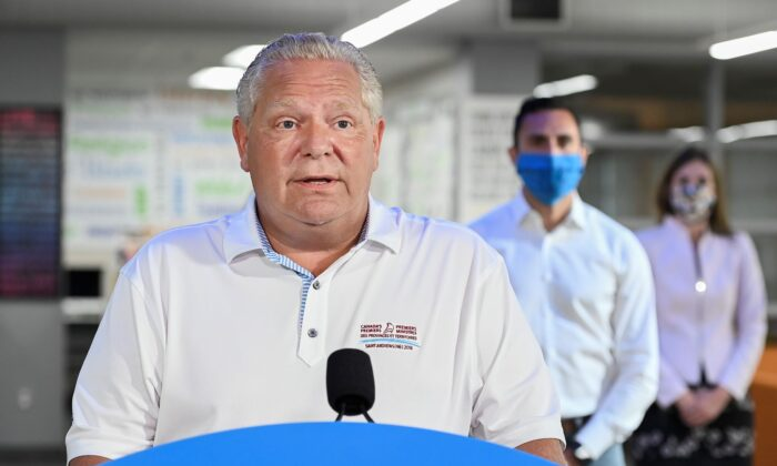 Ontario Premier Doug Ford makes an announcement regarding the government's plan for a safe reopening of schools in the fall at Father Leo J. Austin Catholic Secondary School in Whitby, Ont., on July 30, 2020. (The Canadian Press/Nathan Denette)
