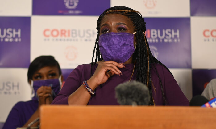 Missouri Democratic congressional candidate Cori Bush gives her victory speech at her campaign office in St. Louis, Miss., on Aug. 4, 2020. (Michael B. Thomas/Getty Images)