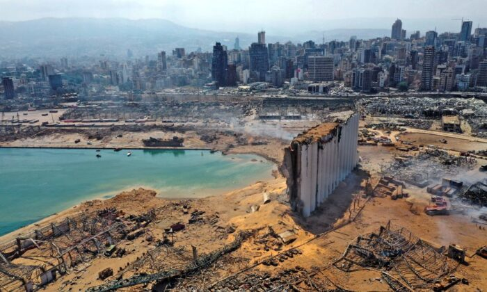 An aerial view shows the massive damage done to Beirut port and surrounding area, one day after a large blast tore through the heart of the Lebanese capital with the force of an earthquake, killing more than 100 and injuring over 4000, on Aug. 5, 2020. (-/AFP via Getty Images)
