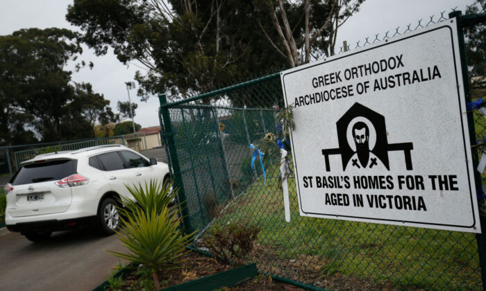 Staff return to work at St Basils Home for the Aged in Fawkner on August 07, 2020 in Melbourne, Australia. (Darrian Traynor/Getty Images)