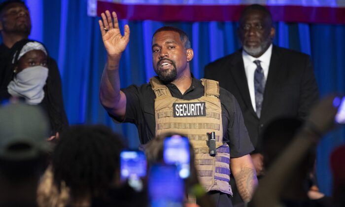 Kanye West makes his first presidential campaign appearance, in North Charleston, S.C., on July 19, 2020. (Lauren Petracca Ipetracca/The Post And Courier via AP)