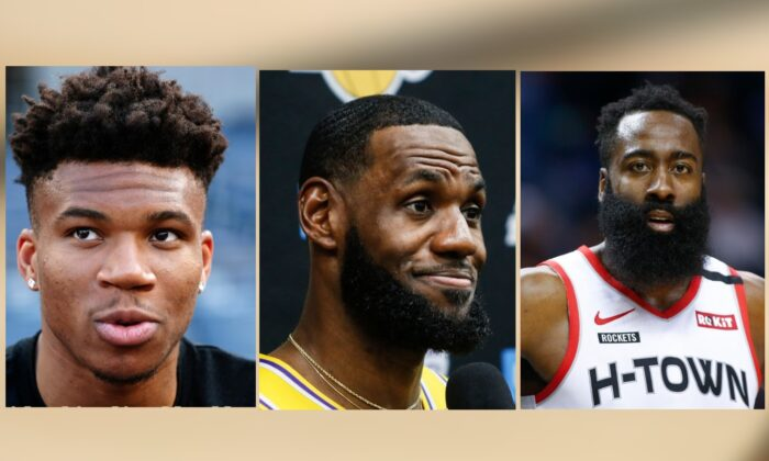 This season's NBA MVPs, from left to right, Giannis Antetokounmpo of the Milwaukee Bucks, LeBron James of the Los Angeles Lakers and James Harden of the Houston Rockets. (AP File Photos)