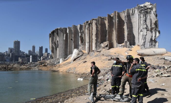 A rescue team surveys the site of this week's massive explosion in the port of Beirut, Lebanon on Aug. 7, 2020. (Thibault Camus/AP Photo)