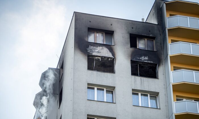 An apartment building is seen after a fire broke out in Bohumin, Czech Republic, Aug. 8, 2020. (Lukas Kabon/Reuters)