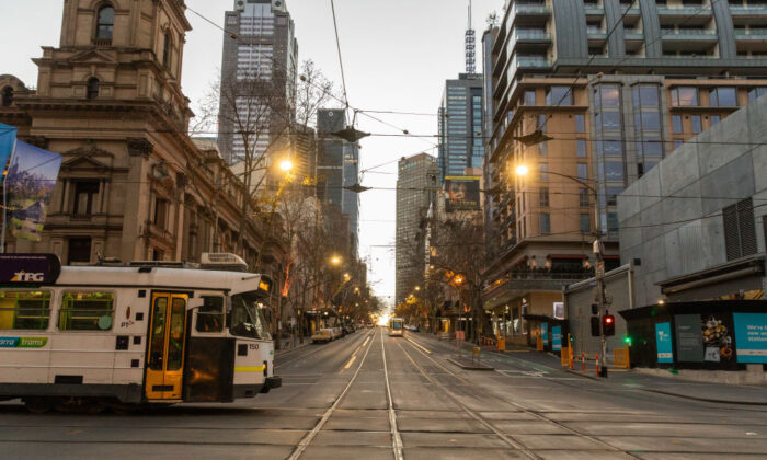 Two trams operating on a quiet intersection in the Melbourne Central business district on August 06, 2020 in Melbourne, Australia.  (Asanka Ratnayake/Getty Images)