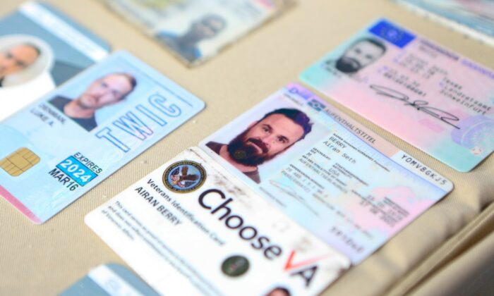 I.D. cards of former U.S. special forces citizen Airan Berry, right, and Luke Denman, left, in Caracas, Venezuela were released by the Venezuelan Miraflores presidential press office on May 4, 2020. (Miraflores Palace presidential press office via AP, File)