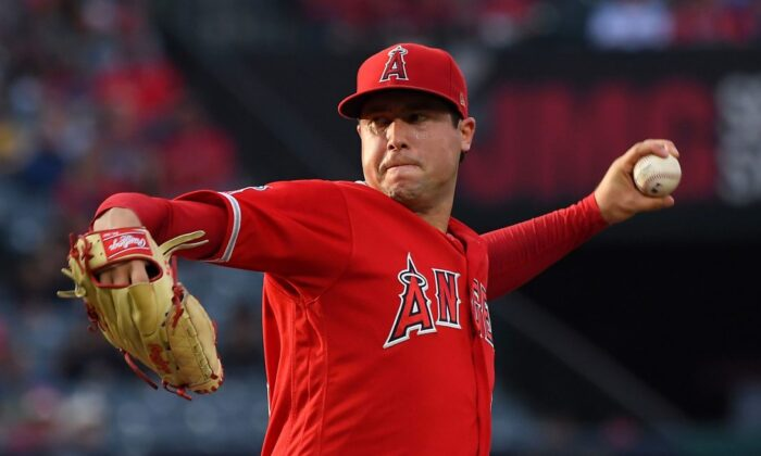 Tyler Skaggs, #45 of the Los Angeles Angels, pitches in the first inning of the game against the Oakland Athletics at Angel Stadium of Anaheim in Anaheim, Calif., on June 29, 2019. (Jayne Kamin-Oncea/Getty Images)