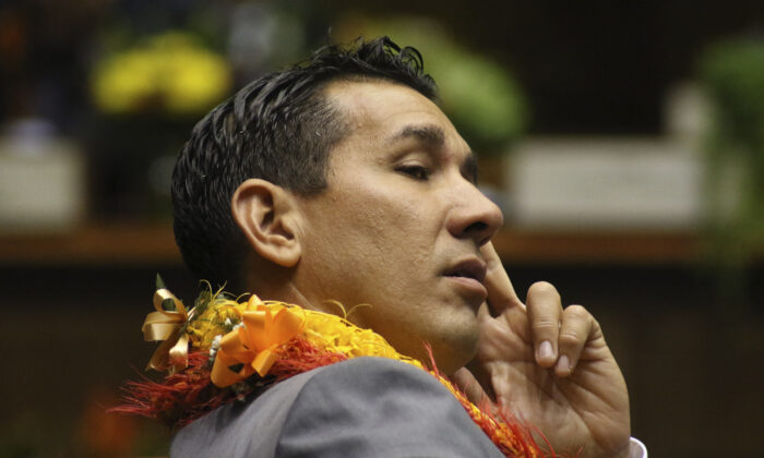 In this Jan. 15, 2020, file photo, is state Sen. Kai Kahele at the opening day of the Hawaii Sate Legislature in Honolulu. Kahele is favored to win the Democratic Party's nomination to represent Hawaii's 2nd Congressional District in the primary election. The seat is currently held by U.S. Rep. Tulsi Gabbard, a Democrat who decided not to run for reelection so she could focus on her presidential campaign, which was ultimately unsuccessful.   (AP Photo/Audrey McAvoy, File)