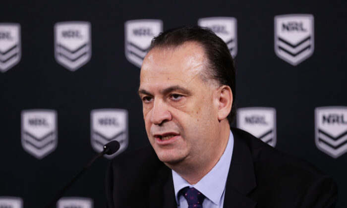 ARLC Chairman Peter V'landys at a NRL press conference at Rugby League Central in Sydney, Australia on March 15, 2020. (Matt King/Getty Images)