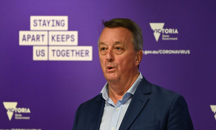 Victorian Minister for Mental Health, Martin Foley at a press conference at Treasury Theatre, in Melbourne, Australia on July 13, 2020. (Quinn Rooney/Getty Images)