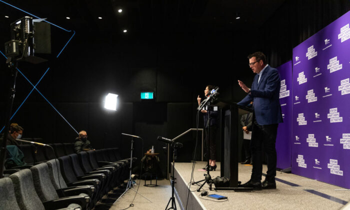 Premier of Victoria Daniel Andrews during a press conference in Melbourne, Australia on Aug. 6, 2020. (Asanka Ratnayake/Getty Images)