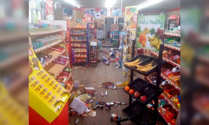 Various items litter the floor of the 4 Brothers Store after an earthquake shook in Sparta, N.C., on Aug. 9, 2020. (Michael Hull via AP)