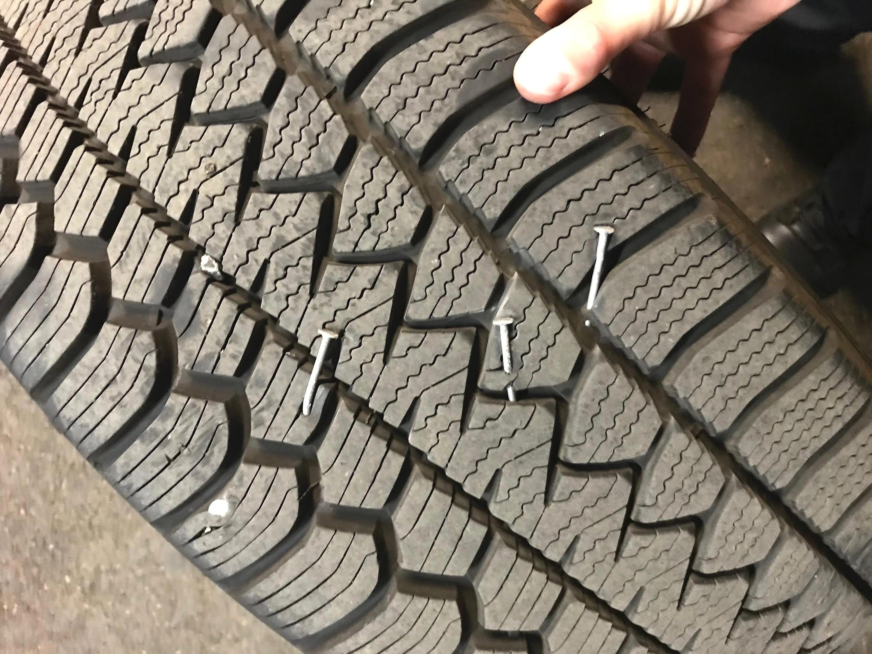 Police vehicle tire suffers damage