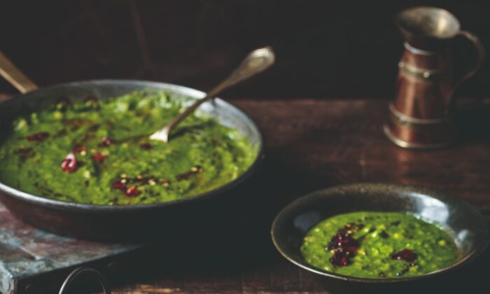 """Spinach and toor dal, split yellow pigeon peas, are puréed with lively spices and fresh coconut for a dal at once comforting and refreshing. (Photo from book """"""""Chetna's Healthy Indian: Vegetarian"""")"""