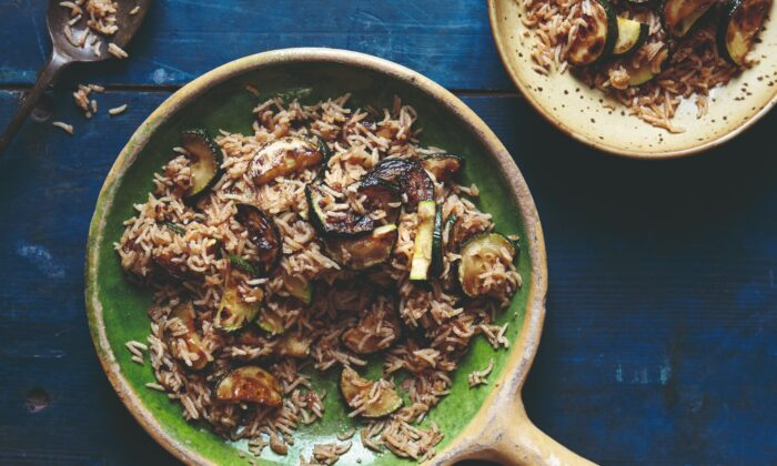 """Peak-season zucchini and fragrant, spiced basmati rice come together in a super-quick one-pot dish. (Photo from book """"""""Chetna's Healthy Indian: Vegetarian"""")"""
