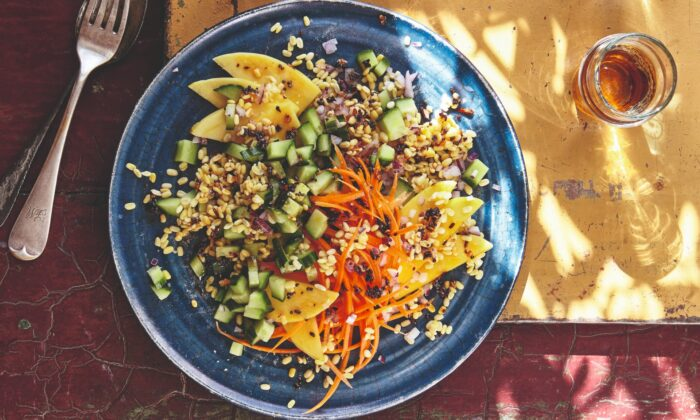 Chetna Makan wants to 'help you feel more confident using veg, and become a little more experimental with pulses.' This summery lentil, mango, and cucumber salad, enlivened with spices, is a great start. (Photo by Nassima Rothacker)