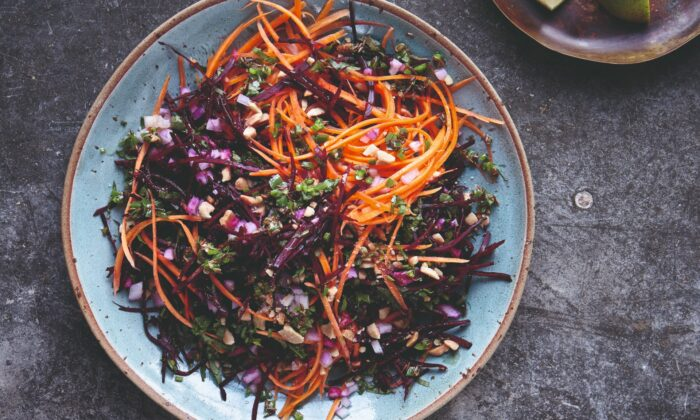 """Roasted peanuts and cumin seeds add flavor and crunch to a base of earthy-sweet shredded beets and carrots. (Photo from book """"""""Chetna's Healthy Indian: Vegetarian"""")"""
