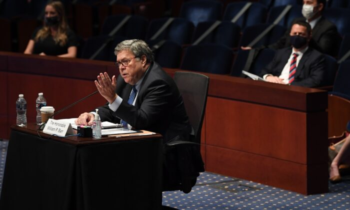 Attorney General William Barr testifies before the House Judiciary Committee hearing in the Congressional Auditorium at the U.S. Capitol Visitors Center in Washington on July 28, 2020. (MATT MCCLAIN/POOL/AFP via Getty Images)