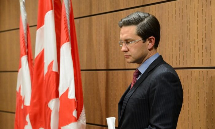 Conservative MP Pierre Poilievre holds a press conference on Parliament Hill in Ottawa on July 29, 2020. (The Canadian Press/Sean Kilpatrick)
