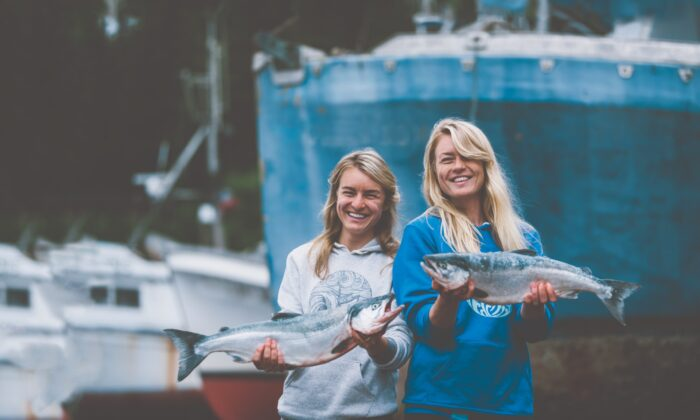 Emma Teal Laukitis (R) and Claire Neaton are sisters, Alaskan fishermen, and co-founders of Alaskan fish and nautical apparel company The Salmon Sisters. (Camrin Dengel)