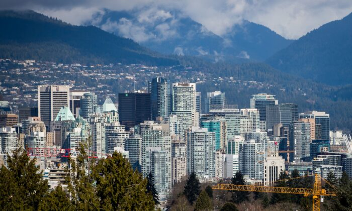 The downtown Vancouver skyline on March 30, 2018. A 2019 analysis showed that around $75 billion worth of residential real estate in the Vancouver area had ties to foreign owners. (The Canadian Press/Darryl Dyck)
