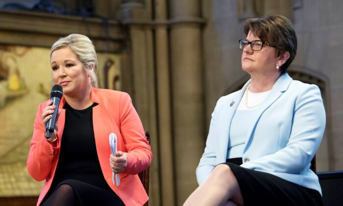 Arlene Foster (R) and Michelle O'Neill in Manchester, England, on Oct. 3, 2017. (Carl Court/Getty Images)