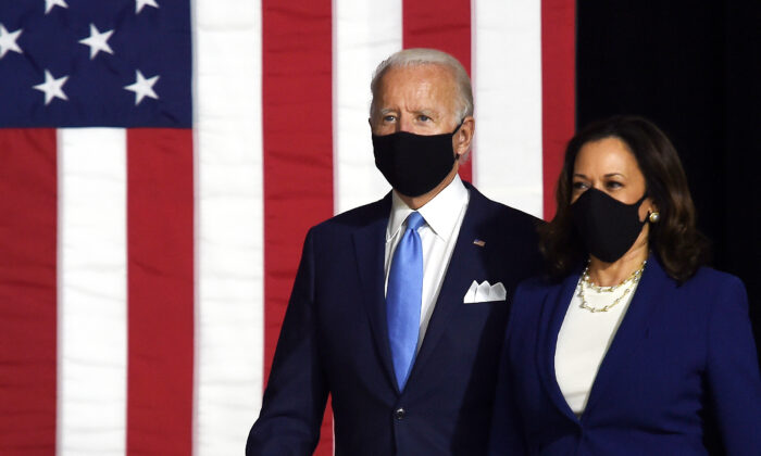 Democratic presidential nominee and former Vice President Joe Biden (L) and vice presidential running mate, Senator Kamala Harris, arrive to conduct their first press conference together in Wilmington, Del., on Aug. 12, 2020. (Olivier Douliery/AFP via Getty Images)