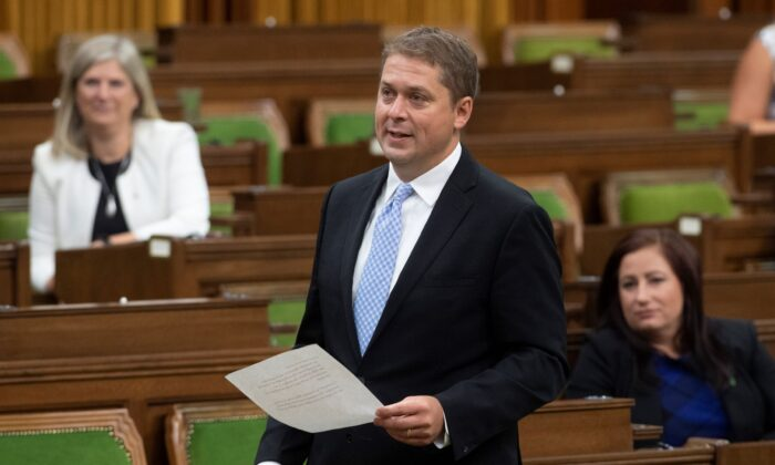 Opposition Leader Andrew Scheer rises during a sitting of the Special Committee on the COVID-19 Pandemic in the House of Commons in Ottawa on Aug. 12, 2020. This is Scheer's last appearance in the House of Commons as Conservative Leader. (Adrian Wyld/The Canadian Press)