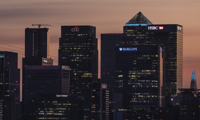 A general view of the skyline of the Canary Wharf business district in London on Apr. 21, 2020. (Dan Kitwood/Getty Images)