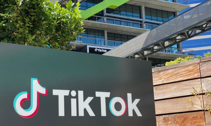 The logo of Chinese video app TikTok is seen on the side of the company's new office space at the C3 campus on August 11, 2020 in Culver City, in the westside of Los Angeles.  (CHRIS DELMAS/AFP via Getty Images)