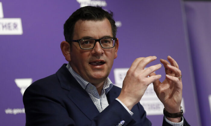 Victorian Premier Daniel Andrews at the daily briefing in Melbourne, Australia on Aug. 12, 2020. (Darrian Traynor/Getty Images)
