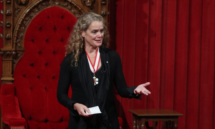 Governor General Julie Payette delivers a speech in the Senate chamber on Parliament Hill in Ottawa on  Oct.  2, 2017. (Lars Hagberg/AFP via Getty Images)