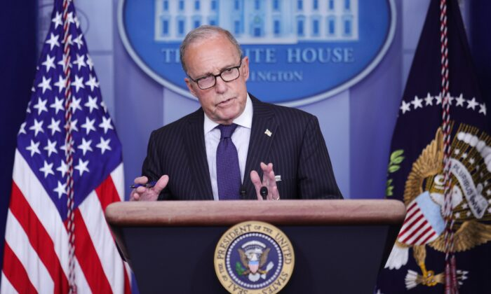 White House economic advisor Larry Kudlow addresses a press briefing on the U.S. economy and new U.S. employment and unemployment numbers in the Brady Press Briefing Room at the White House in Washington, on July 2, 2020.  (Tom Brenner/Reuters)