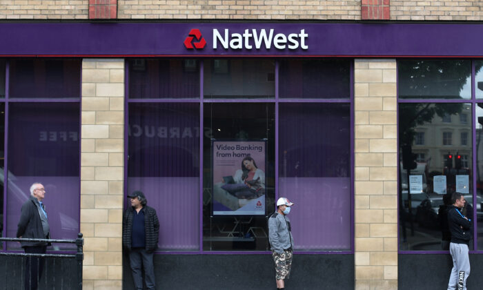 A Natwest bank in Wimbledon, London,  on May 1, 2020. (Hannah McKay/ Reuters)