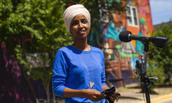 Rep. Ilhan Omar (D-Minn.) speaks with media gathered outside Mercado Central in Minneapolis, Minn on Aug. 11, 2020. (Stephen Maturen/Getty Images)