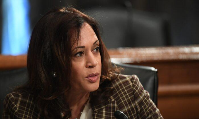 Sen. Kamala Harris speaks in Washington on Aug. 6, 2020. She was chosen as presumptive Democratic presidential nominee Joe Biden's running mate on Aug. 11, 2020. (Toni Sandys/Pool/Getty Images)