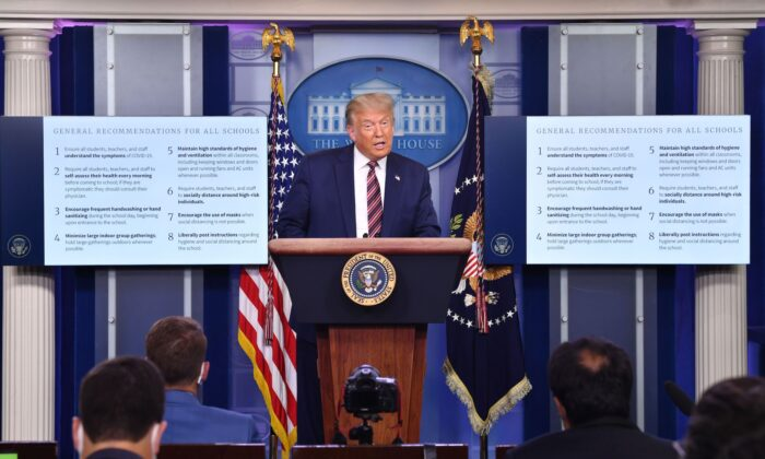 Trump Introduces New COVID-19 Adviser, Announces 8 New Guidelines for Reopening Schools