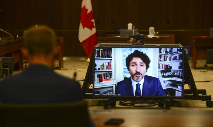 Prime Minister Justin Trudeau appears as a witness via videoconference during a House of Commons finance committee meeting on July 30, 2020. (THE CANADIAN PRESS/Sean Kilpatrick)