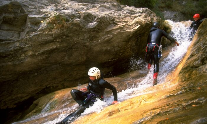 Canyoning in the Provence-Alpes region, France, on 9 Sep 1999. (Pascal Rondeau/Allsport)