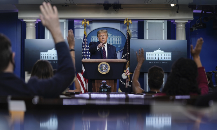 President Donald Trump speaks during a news conference in the James Brady Press BriefingRoom of the White House on Aug. 4, 2020. (Drew Angerer/Getty Images)
